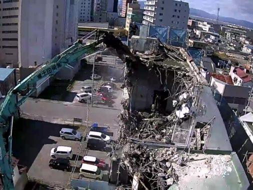 RC造雑居ビル解体工事(上空から)